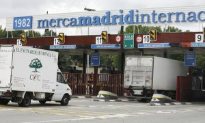 Los camiones entran en el recinto de Mercamadrid. (EFE/Víctor Lerena)
