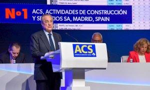 El presidente de la constructora ACS, Florentino Pérez, interviene en la junta de accionistas del grupo. E.P.