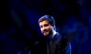 El presidente del PP, Pablo Casado, en un acto del partido en la localidad madrileña de Alcobendas. EFE/ David Fernández