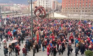 Pensionistas vascos se movilizan frente al Ayuntamiento de Bilbao