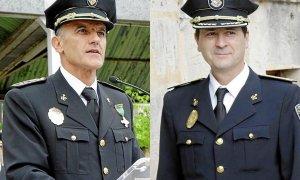 Los comisarios de la Policía Local de Palma  Joan Miquel Mut y Antoni Morey, cuando fueron suspendidos de empleo y sueldo en 2016 por las medidas cautelares del juez que investigaba el caso Cursach.