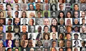 Algunos de los periodistas de investigación de todo el mundo que han puesto en marcha la campaña #JournalistsSpeakUpforAssange.