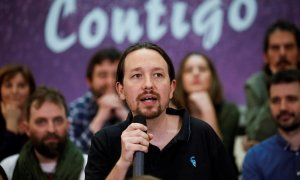 El vicepresidente segundo del Gobierno y secretario general de Podemos, Pablo Iglesias (c), este domingo durante el acto de presentación de su candidatura a la Tercera Asamblea Ciudadana de la formación, prevista para este 21 de marzo en Leganés (Madrid)