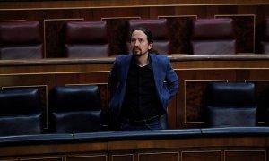 El vicepresidente tercero del Gobierno, Pablo Iglesias, durante el pleno celebrado este miércoles en el Congreso. EFE/Chema Moya