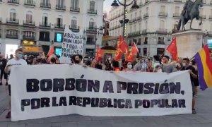 Los manifestantes, en la Puerta del Sol.- PÚBLICO