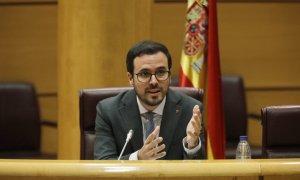 El ministro de Consumo, Alberto Garzón, durante una comparecencia en el Senado en Comisión de Sanidad y Consumo, en Madrid. Jesús Hellín / Europa Press / Archivo