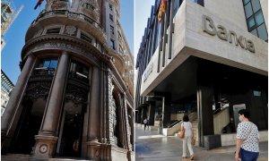 Las actuales sedes en Valencia de Caixabank y de Bankia, ambas en la calle Pintor Sorolla. EFE/REUTERS