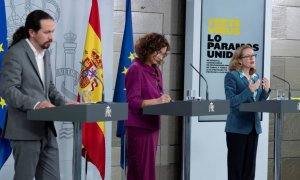Pablo Iglesias, María Jesús Montero y Nadia Calviño, en una imagen de archivo. EFE