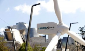 Un molino que fabrica la compañía Simens Gamesa, donde se celebra la Junta de Accionistas de 2019.