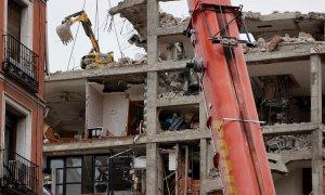 Estado del edificio de la calle Toledo en Madrid, este martes, seis días después de la explosión de gas en la que fallecieron cuatro personas. Tres de las siete calderas de gas del edificio parroquial que explotó en la calle Toledo en Madrid hace seis día