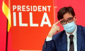 El candidato del PSC a la presidencia de la Generalitat, Salvador Illa, durante un acto electoral.