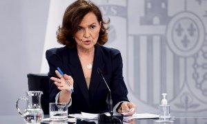MADRID, 16/02/2021.- La vicepresidenta del Gobierno, Carmen Calvo, en rueda de prensa tras la reunión del Consejo de Ministros, este martes en La Moncloa.