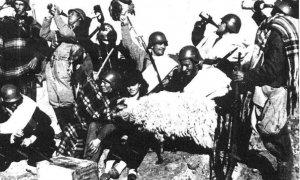 Milicianos beben alcohol enviado desde la retaguardia durante la guerra civil española.