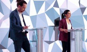 Los candidatos a la presidencia de la Comunidad de Madrid, Pablo Iglesias y Rocio Monasterio, durante el debate electoral en los estudios de Telemadrid. EFE / Juanjo Martín
