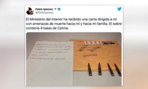 """""""Si crees que esto no va contigo, te equivocas"""": el hilo de Pablo Iglesias tras recibir amenazas de muerte"""
