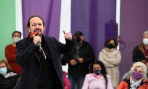 El candidato de Unidas Podemos a la Presidencia de la Comunidad de Madrid, Pablo Iglesias, participa en un acto de campaña celebrado este domingo 25 de abril de 2021 en Collado Villalba.