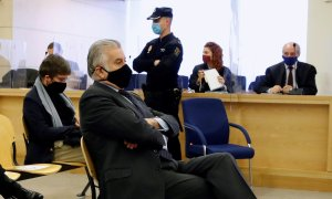 El extesorero del PP Luis Bárcenas durante el juicio por la presunta caja 'b' del PP, en la Audiencia Nacional, en San Fernando de Henares (Madrid). E.P./Pool