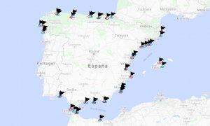 Las banderas negras del litoral español.