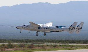 11/07/2021. El avión cohete de pasajeros de Virgin Galactic VSS Unity despega en Spaceport America. - REUTERS