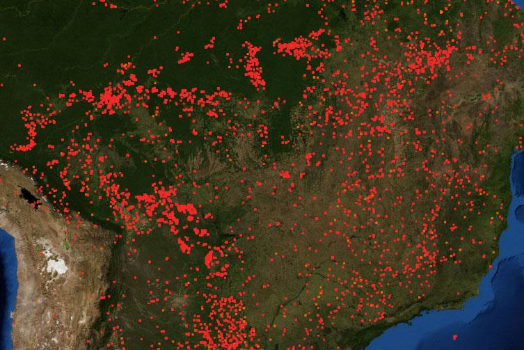 Zoom de la imagen satélite de FIRMS, departamento de la NASA