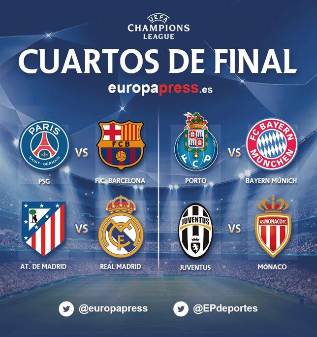 Real Madrid-Atlético y Barça-PSG, choques en cuartos de la Champions ...