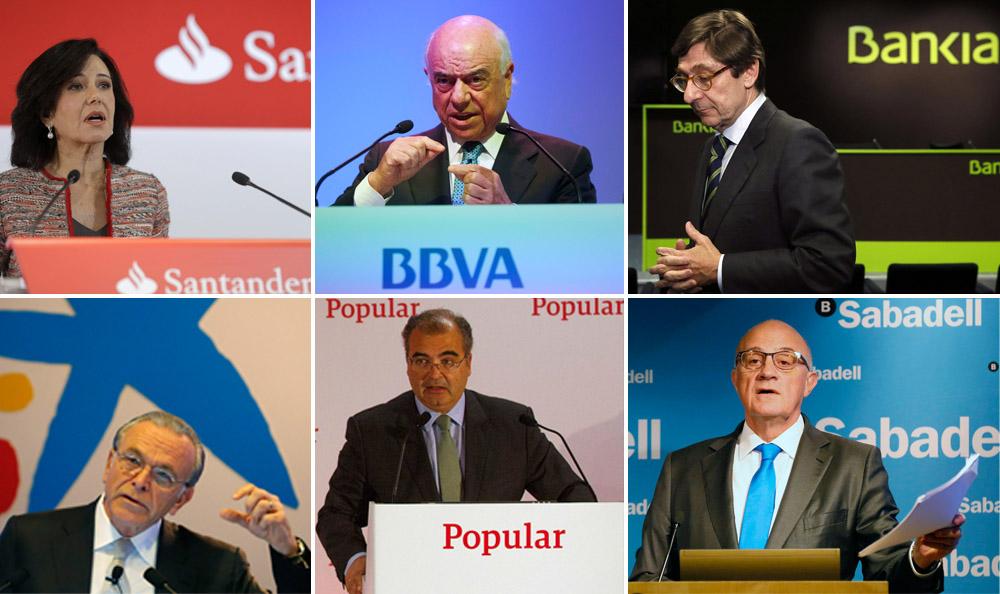 Resultado de imagen de Banco Santander, BBVA, CaixaBank, Bankia y Sabadell
