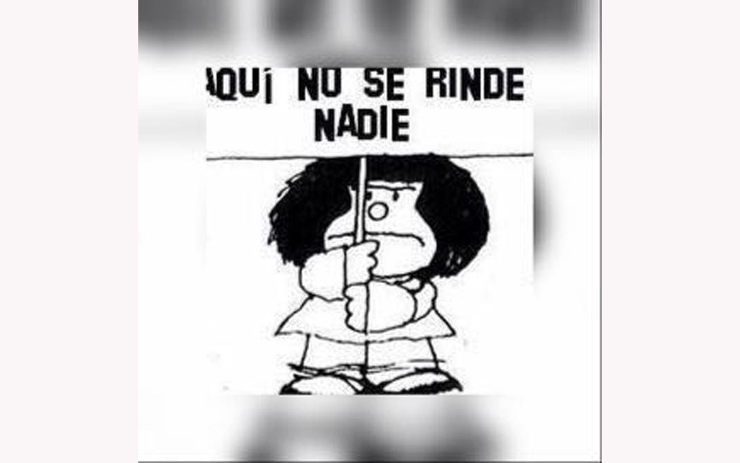 """El icono del WhatsApp es Mafalda con un cartel en el que se lee: """"¡Aquí no se rinde nadie!""""."""