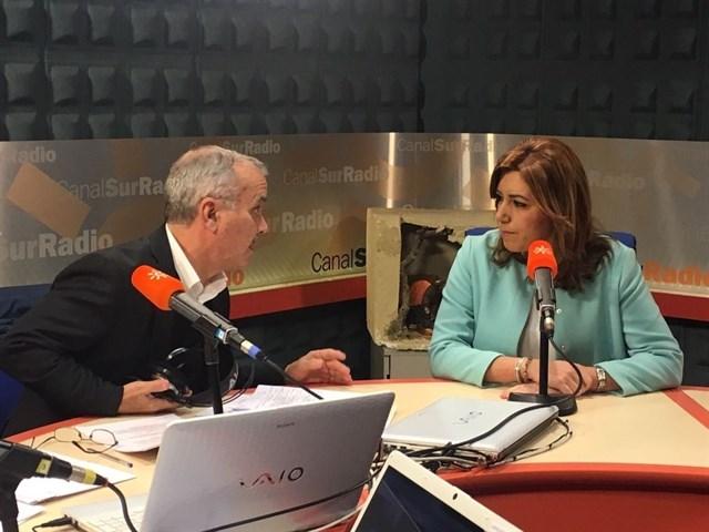 Susana Díaz durante su entrevista en Canal Sur Radio.