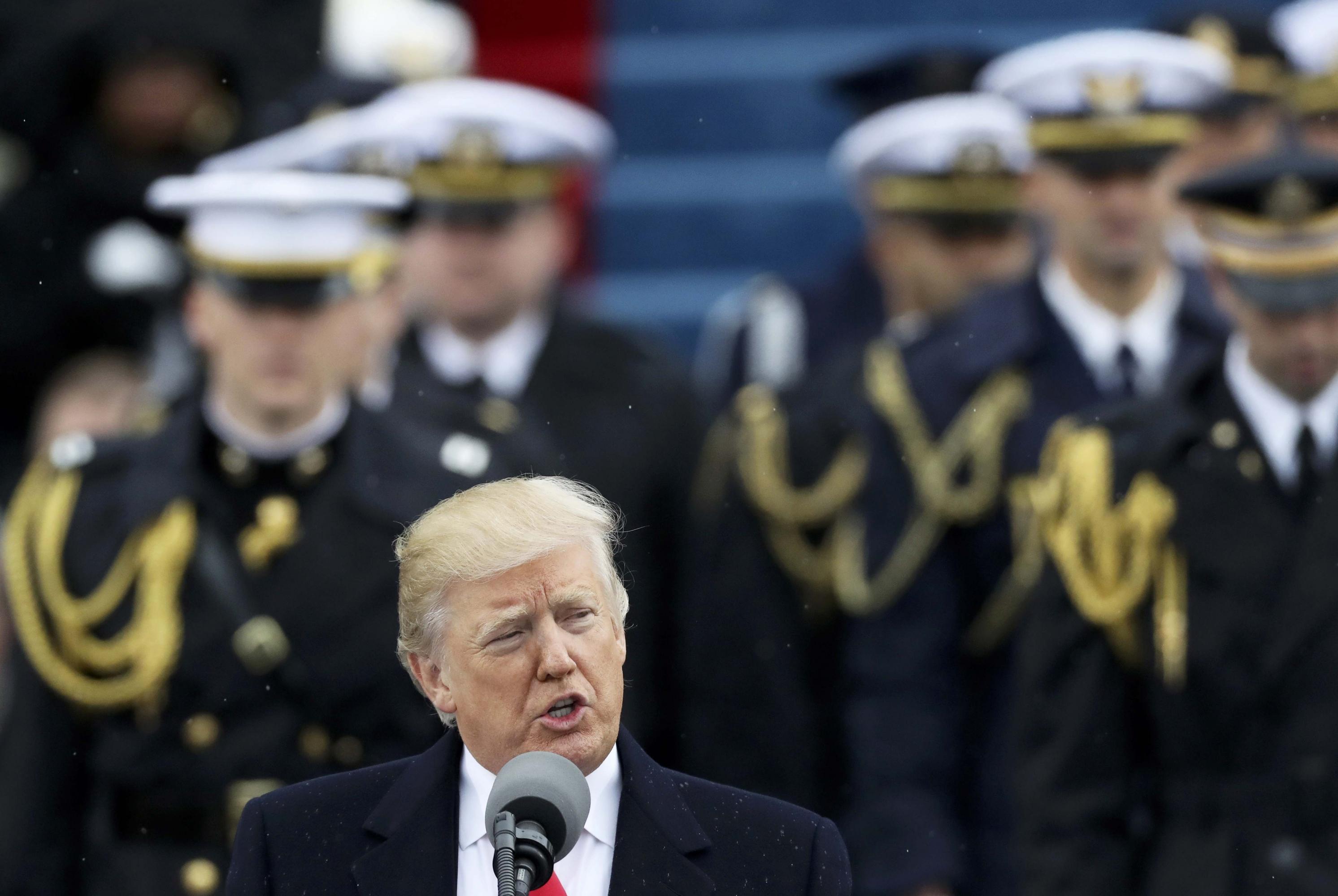 Donald Trump durante su primer discurso tras jurar su cargo de presidente de EEUU. REUTERS/Carlos Barria