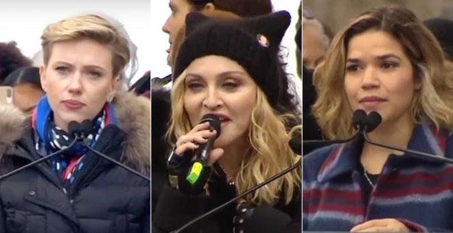 De izquierda a dercha: Scarlett Johansson, Madonna y America Ferrera.