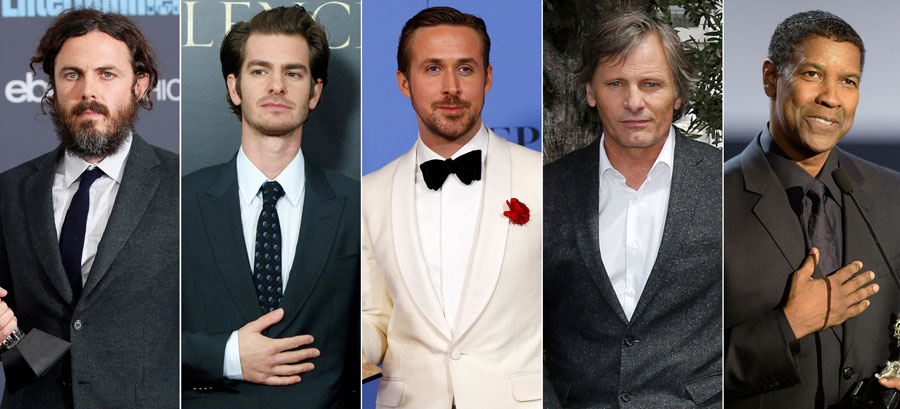 De izquierda a derecha: Casey Affleck, Andrew Garfield, Ryan Gosling, Viggo Mortensen and Denzel Washington.- REUTERS
