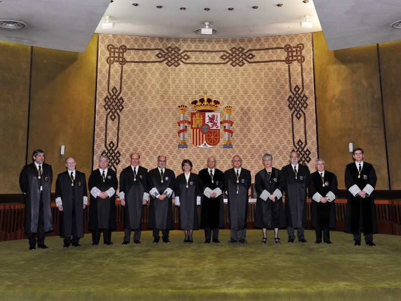 Posan en la Sala de Vistas del Tribunal Constitucional. De derecha a izquierda de la imagen (1) D. Pedro González Trevijano, (2) D. Santiago Martínez-Vares García, (3) D. Fernando Valdés Dal-Ré, (4) Dña. Encarnación Roca Trías, (5) D. Luis Ignacio Ortega Álvarez, (6) D. Francisco José Hernando Santiago, (7) Dña. Adela Asua Batarrita, (8) D. Francisco Pérez de los Cobos Orihuel, (9) D. Andrés Ollero Tassara, (10) D. Juan José González Rivas, (11) D. Juan Antonio Xiol Rios, (12) D. Enrique López y López.