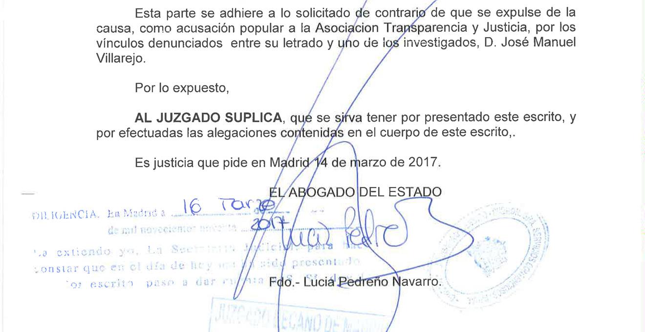 Fragmento de la alegación del abogado del Estado reclamando la expulsión de la causa del pequeño Nicolás al excomisario Villarejo por sus vínculos con la Asociación Transparencia y Justicia.