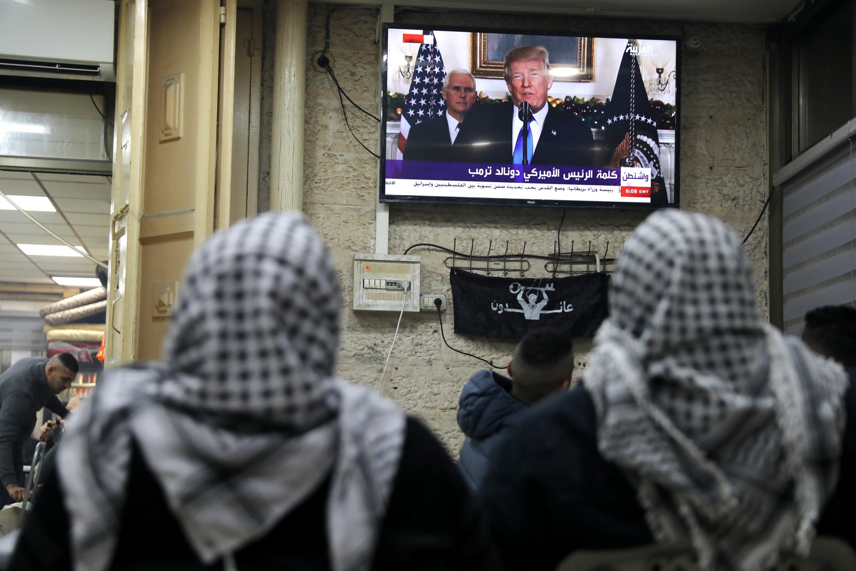 Trump anunciando que reconocerá Jerusalén como al capital de Palestina