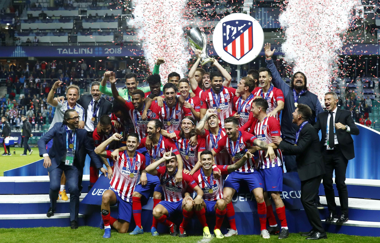 Los jugadores del Atlético de Madrid celebran su victoria ante el Real  Madrid. - REUTERS 4f715a2e92d8c