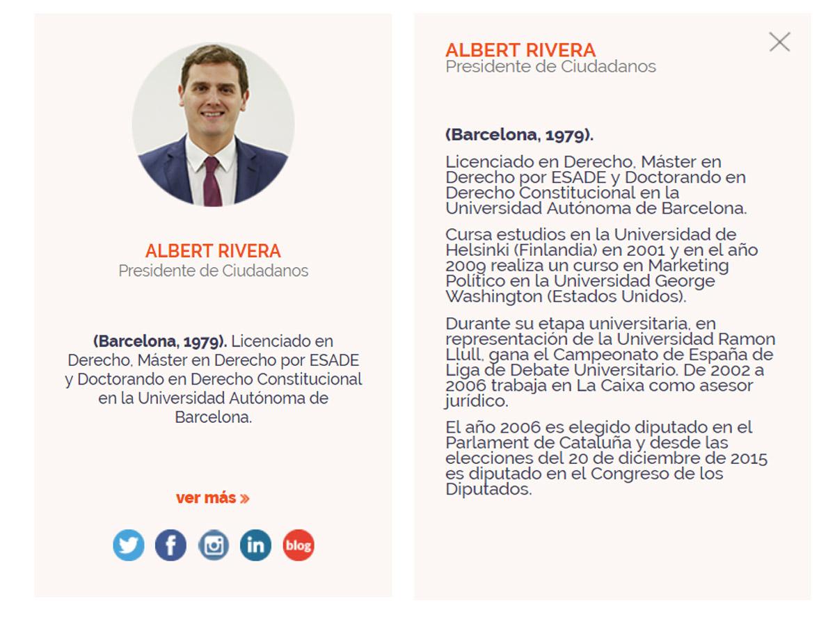 Currículum de Rivera: Albert Rivera sigue apareciendo como ...
