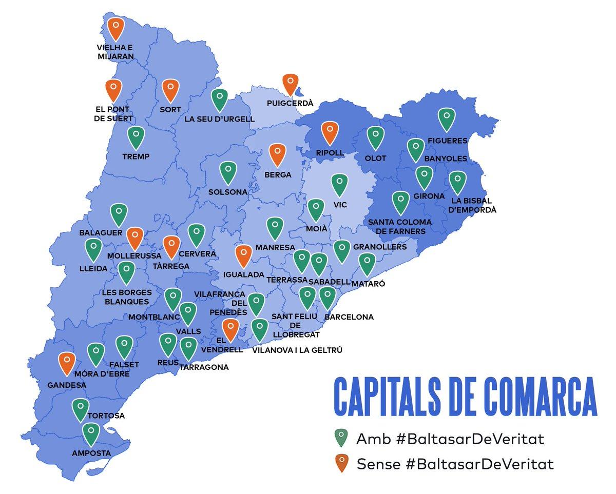 Mapa De Les Comarques De Catalunya I Capitals.El 75 De Les Capitals Comarcals Catalanes Tindran Un