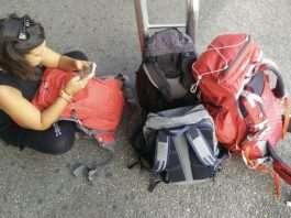 Yo con mis mochilas listas para empezar un viaje.