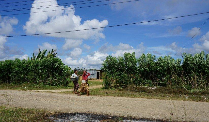 Mujeres timorenses volviendo caminando del mercado, en Lospalos, Timor Oriental.