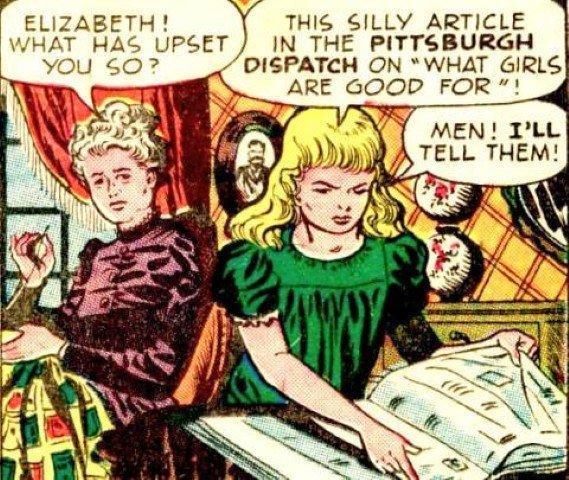 Viñeta en cómic sobre el momento en que Elizabeth Jane Cochrane (todavía no rebautizada con su nombre de reportera Nellie Bly) lee el sexista articulo en el Pittsburgh Dispatch. Fuente: http://comicvine.gamespot.com/nellie-bly/4005-80099/