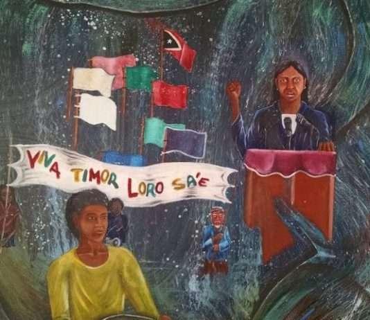 """Viva Loro Sa´e. Mural expuesto en la exposición permanente Chega!, en Dili. Timor Lorosa'e ( Timor Oriental en tetun) significa """"país del sol naciente"""""""
